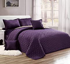 Moon Compressed Two-Sided Velvet Comforter Set, King Size, Purple, 6 Pieces