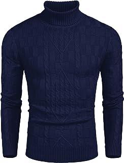 JINIDU Men's Slim Fit Turtleneck Sweater Cable Knit Ribbed Cotton Jumper Pullover