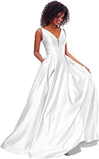 Women's Open Back Satin Prom Dress Long Evening Gown With Pockets