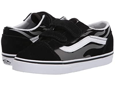 Vans Kids Old Skool V (Infant/Toddler) ((Suede Flame) Black/True White) Boys Shoes