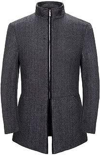 Beautyfine Men Windbreaker Coat Autumn Winter Casual Collar Cardigan Outerwear