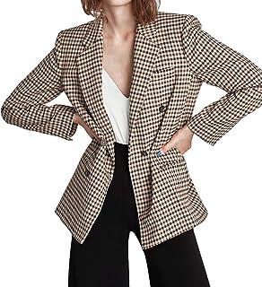 BemeUSWT Ladies Buttoned Blazer, Long Sleeve Notched Lapel Tie Pocket Blazer Cardigan Shirt Check Print Loose Lightweight ...