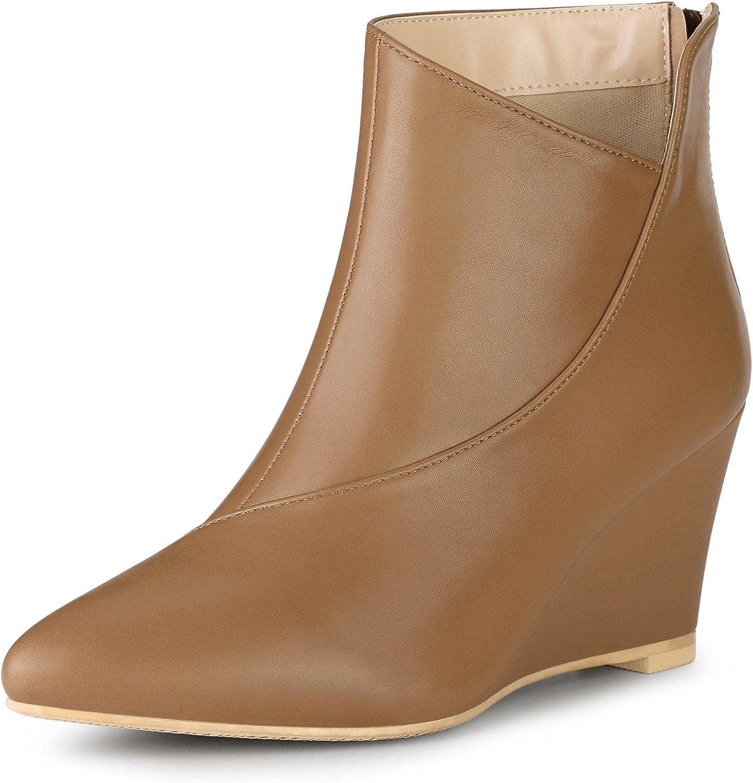 Allegra K 安値 豪華な Women's Pointed Toe Wedge Booties Heel Ankle Zipper