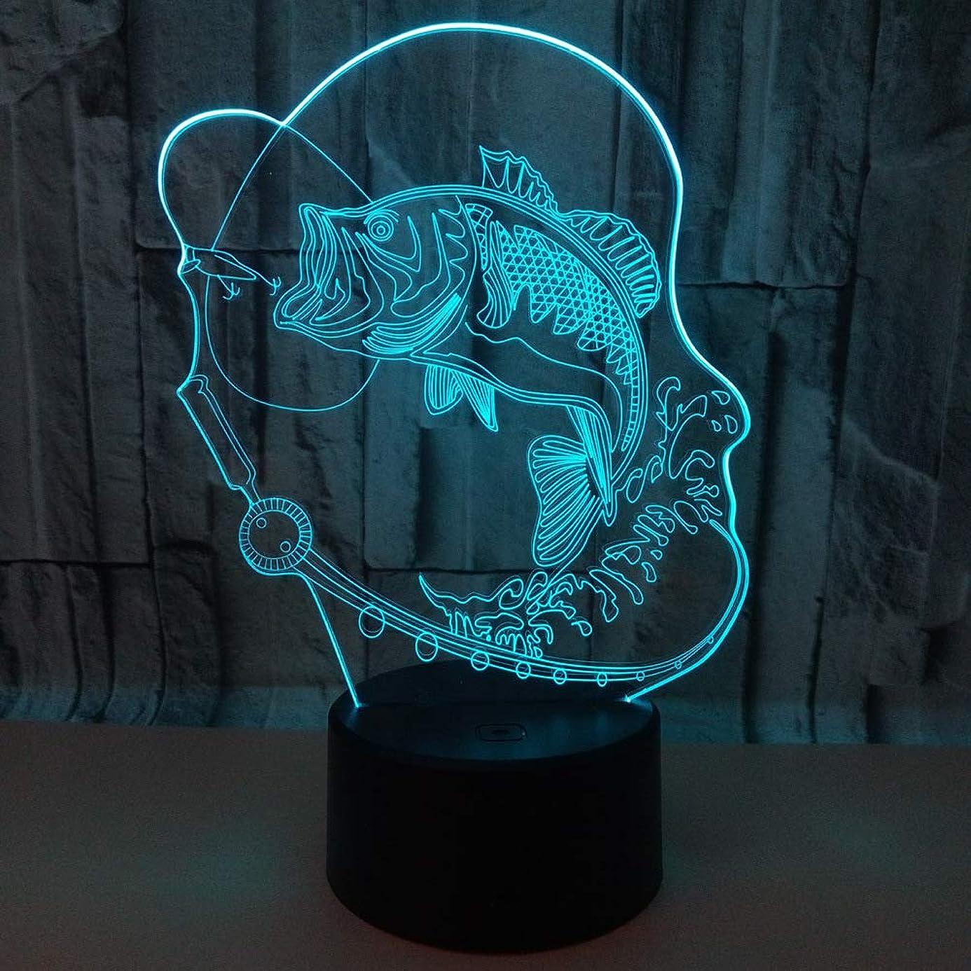大西洋問い合わせる各釣り鯉3Dナイトライトタッチテーブルデスクランプ、7フラットカラー変更錯視ライト付きアクリルフラット、ABSベース、休日用USB [エネルギークラスA +++]