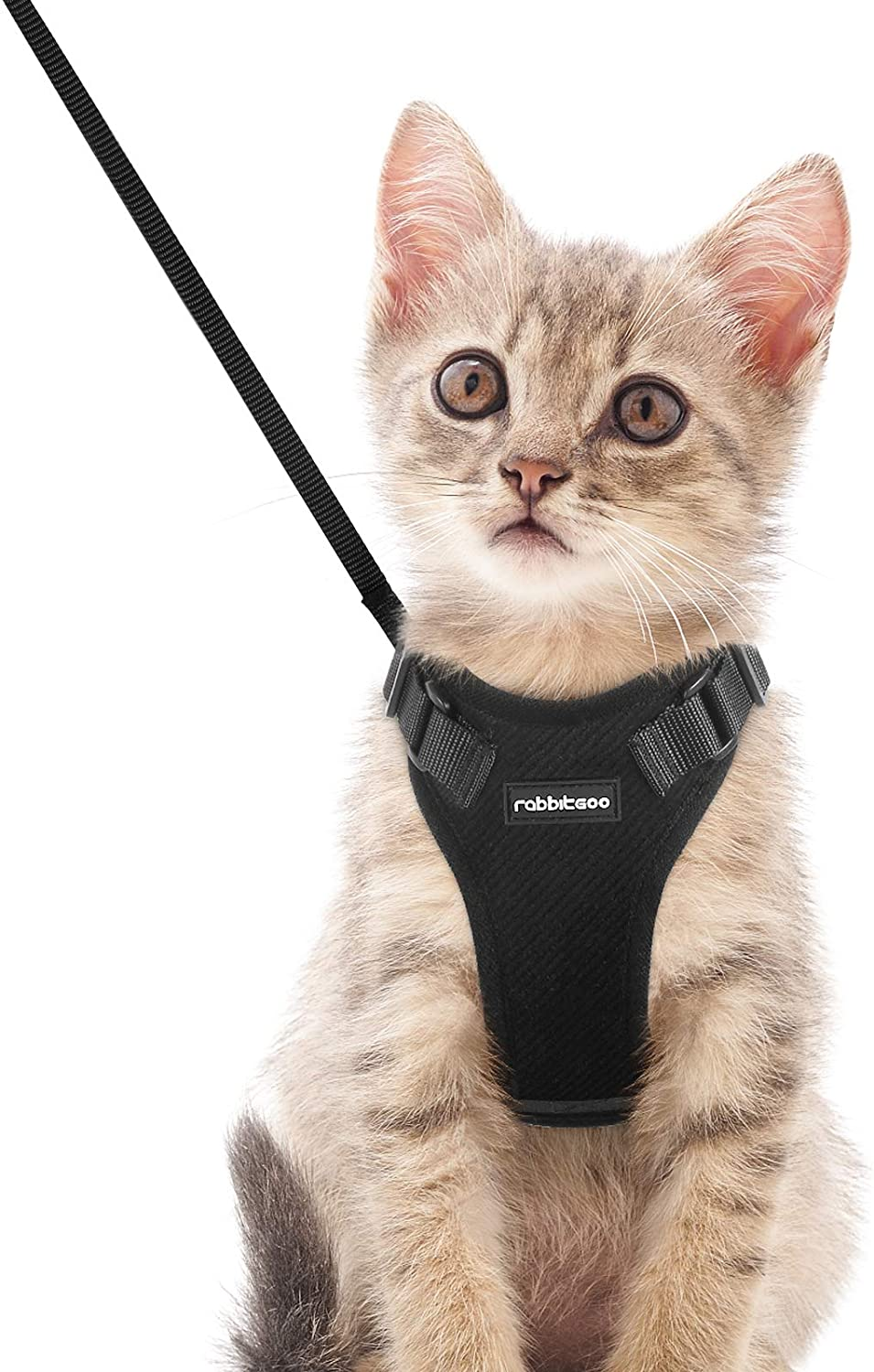 rabbitgoo Cat Harness and Leash Set for Walking XS Black Adjustable Easy Control Reflective Strips Jacket Plush Escape Proof Walking Outdoor Vest for Cold Weather Chest: Chest: 13.5-16