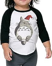 Autumn Kids Toddler Christmas Totoro Crew Neck 3/4 Sleeves Raglan T Shirts