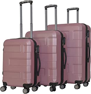 YINTON 3 Pieces Set Luggages with 4 spinner wheels - 20 x 24 x 28 inch (PINK)