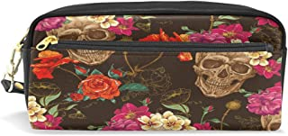 ALAZA Skull Rose Flowers Pencil Case Zipper PU Leather Pen Bag Cosmetic Makeup Bag Pen Stationery Pouch Bag Large Capacity