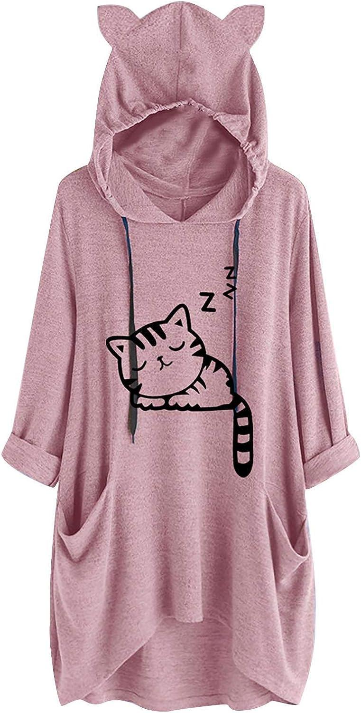 WUAI Hoodies Sweatshirts for Women Plus Size Long Sleeve Loose Oversized Cat Ear Hooded Fashion Pullover Jumper Tops