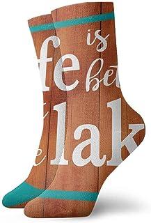 tyui7, Life at Lake Calcetines de compresión antideslizantes marcados al agua Cosy Athletic 30cm Crew Calcetines para hombres, mujeres, niños
