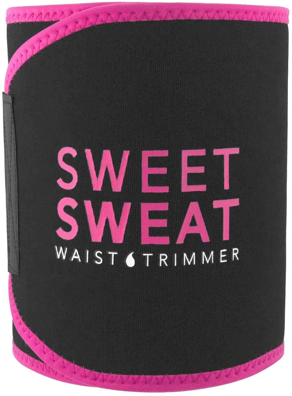 Sweet Sweat Ceinture de sudation (Logo Rose) pour homme et femme. Comprend un échantillon gratuit d'activateur d'entraînement Sweet Sweat ! (Rose)