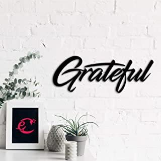 eCraftIndia Grateful Black Engineered Wood Wall Art Cutout, Ready to Hang Home Decor, one Size (WMDFCO154)