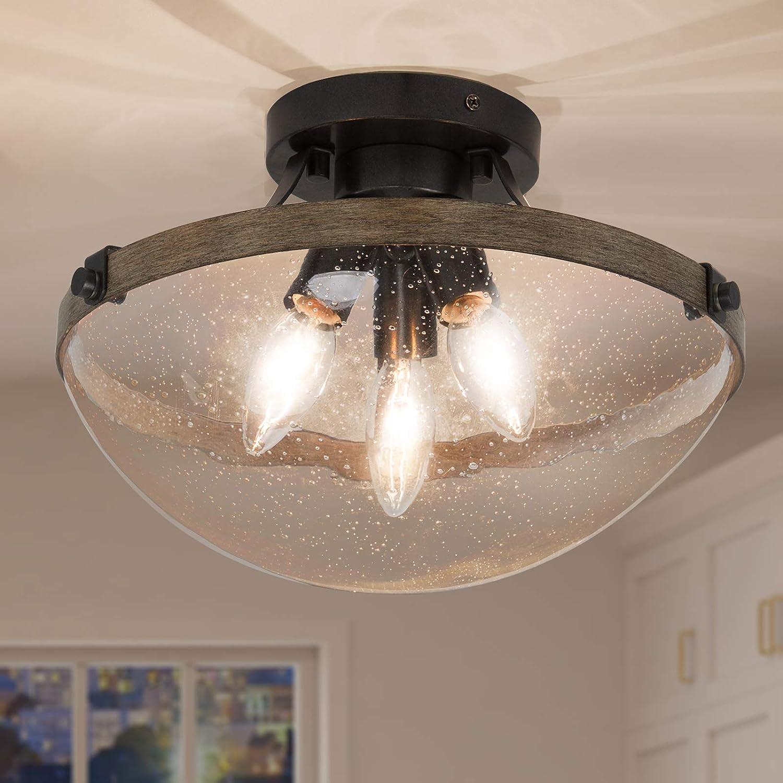 GEPOW 3-Light Semi Flush Mount Ceiling Virginia Beach Mall Farmhouse t Sale price Lights Close