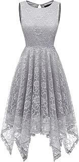 Women's Cocktail Floral Lace Handkerchief Hem Bridesmaid Wedding Gown