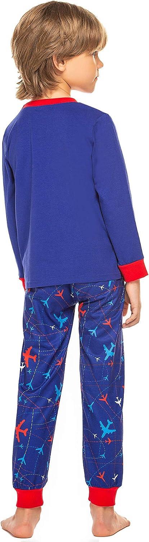 trudge Schlafanzug Jungen Pyjama Set Kinder Weihnachten Zweiteiliger Schlafanz/üge Baumwolle Langarm Top Kariert Hose Nachtw/äsche f/ür Jungen 2-10 Jahre 110 116 128 140 150