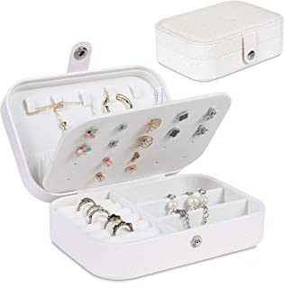 Travel Jewelry Organiser Cases Storage Box Portable for Earrings Rings Bracelet Necklaces Storage for Her Girl and Woman A...