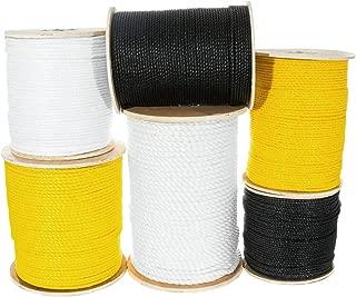 Golberg Twisted Polypropylene Rope - Moisture, Chemical, Oil, Rot Resistant - Marine, Nautical - (Black, 1/4 Inch x 200 Feet)