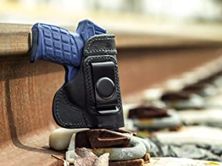 OutBags USA LS3PF9 Full Grain Heavy Leather IWB Conceal Carry Gun Holster for Kel-Tec PF-9 9mm. Handcrafted in USA.