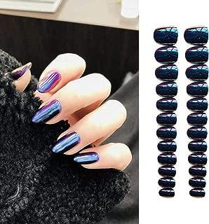 Evazen 24Pcs Different Color Metallic Mirror Effect Coffin Ballerina False Nail Medium 3D Alloy Press On Nails Full Cover False Nails for Women (Purple)