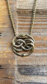 NeverEnding Story Antique Bronze Necklace, Auryn Necklace, Long or Choker, Never Ending Story Snake Pendant, Snake Circle, Men's Necklace