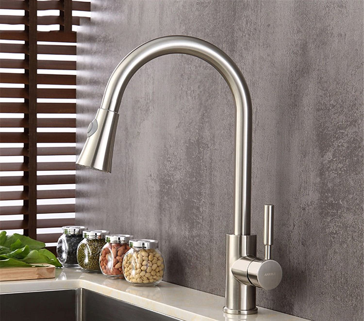 Bijjaladeva Antique Bathroom Sink Vessel Faucet Basin Mixer Tap All copper brushed hot and cold kitchen pull the sink washing dishes pots caster swivel faucet B1