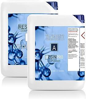Resin Pro - 8 KG Résine Èpoxy Transparente non Toxique - Bicomposant A+B, Effet d'Eau, Polissage, pour Créations Artistiqu...