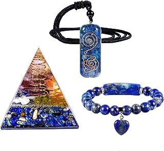 mookaitedecor Lapis Lazuli Crystal Healing Set of 3, Energy Orgone Pyramid & Stone Pendant & Bracelet Kits for Chakra Reik...