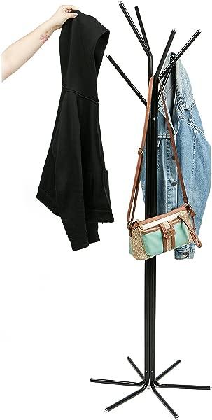 Mind Reader TREECR BLK Freestanding Jacket Hat Coat Rack Hanger Umbrella Holder With 6 Hooks Black