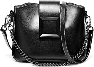Heshe Womens Leather Handbags Small Shoulder Cube Bag Ladies Satchel Purse with Link-chain Strap