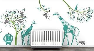 Baby Jungle Extra Large Mural Wall Decal Big Giraffes Fun Monkeys Tree Adorable Lion Little Birds Cute Bunny Curious Fawn