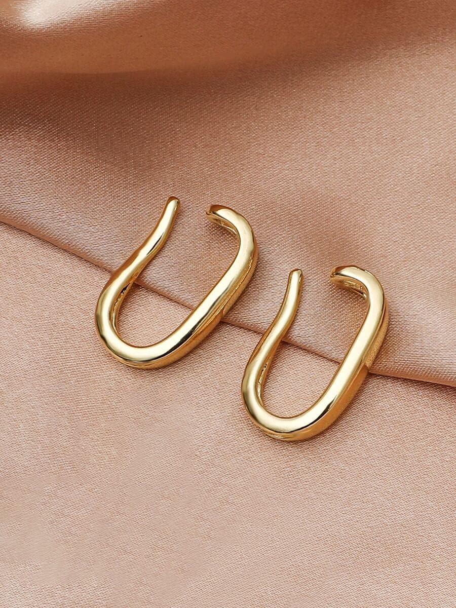 ZHCHL Hoop Earrings 2pcs Minimalist Ear Cuff (Color : Gold)