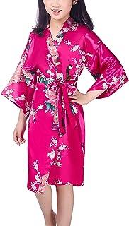 727b57d7a0b13 YAOMEI Kimono Robe Filles Enfant Garçon Chemises de Nuit Paon Fleurs, Robe  Peignoir en Satin