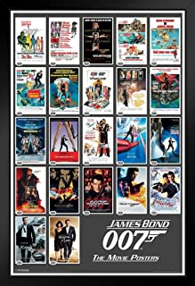 Pyramid America James Bond Portfolio Movie Black Wood Framed Art Poster 14x20