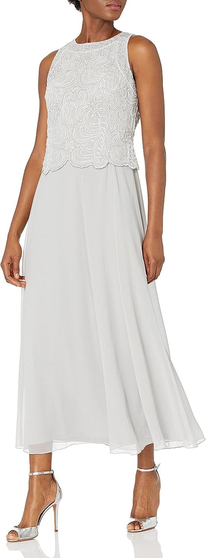 J Kara Women's Sleeveless Scallop Long Beaded Dress W/Scarf Petite