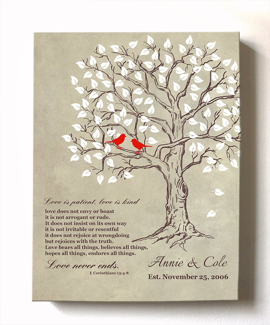 MuralMax - Personalized Family Tree u0026 Lovebirds Stretched Canvas Wall Art Make Your Wedding  sc 1 st  Amazon.com & 8 Year Wedding Anniversary Gifts: Amazon.com
