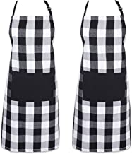 AFYHA 2 Pack Adjustable Buffalo Check Plaid Bib Apron Set with Pocket & Extra-Long Ties, Men and Women Kitchen Apron and Oven Mitts for Cooking, Baking, Crafting, Gardening, BBQ (Black 2)