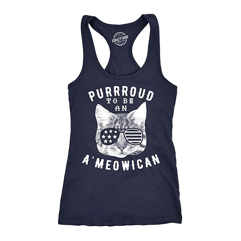Womens Tank Purroud to Be an Ameowican Tanktop Funny 4th of July Cat Tee for Ladies