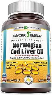 Amazing Omega Norwegian Cod Liver Oil 1000 Mg, Softgels (Lemon, 250 Softgels) -Supports Heart, Joint, Brain, Bone & Immune...