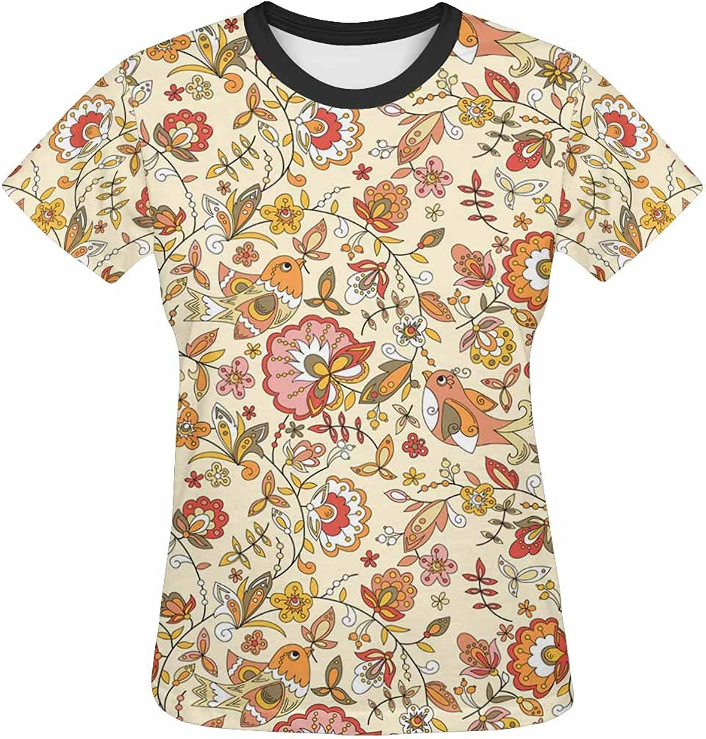 Womens Tops TShirts Print with Brown Flowers Birds