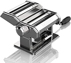 Pasta Machine Removable Dough Hand-make, Adjustable Pasta Thickness and Width, Stainless Steel Roller Cutter Crank Machine...