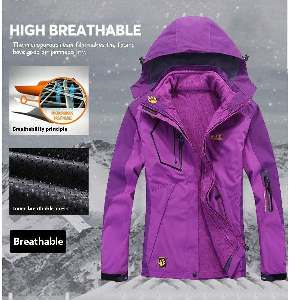 HOUADDY Womens Outdoor 3 in 1 Waterproof Ski Jacket Fleece Hooded Snowboard Mountain Snow Coat,female fruit green,M