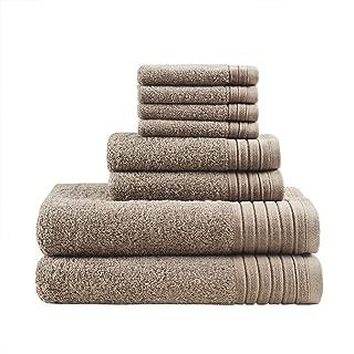 MADISON PARK SIGNATURE Mirage Solid 100% Cotton 8 Piece Towel Set, Taupe