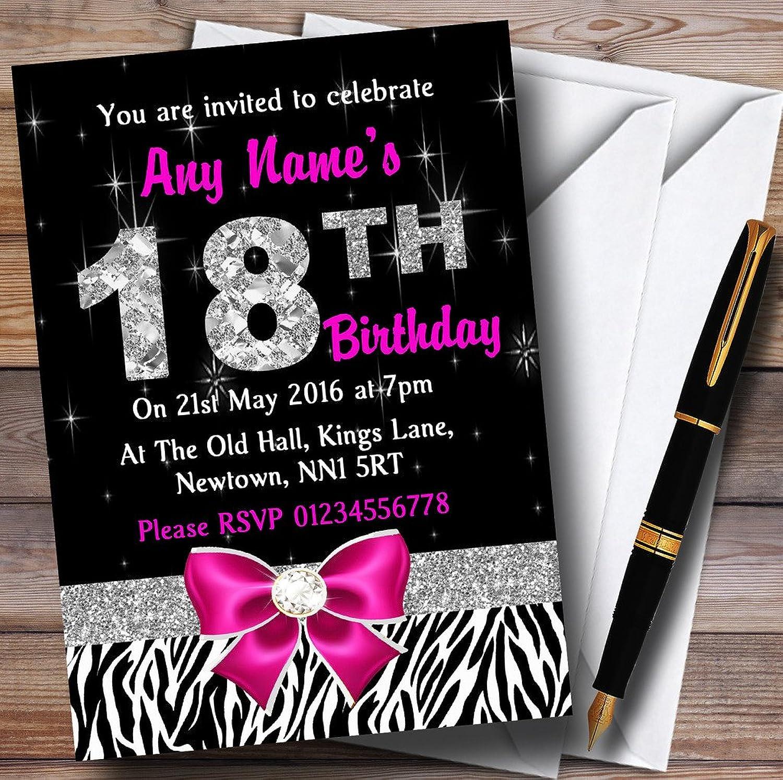 Pink Diamond And Zebra Print 18Th Birthday Party Personalised Invitations   Invites & Envelopes