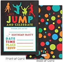 Kids Jumping Birthday Party invitations for Trampoline park Gravitopia jump zone big air party with envelopes