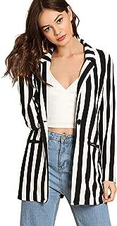 Women's Long Sleeve Open Front Striped Blazer