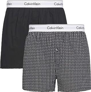 Calvin Klein Men's 2 Pack Slim Boxers, Black, Medium