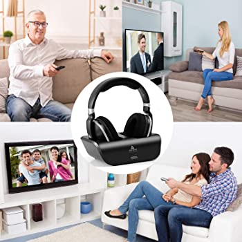 Wireless TV Headphones, Monodeal Over Ear Headsets for TV Watching with Charging Dock, 2.4GHz RF Transmitter, 100ft W...
