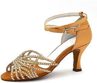 Vrouwelijke Latin Dansschoenen Bronzen Tan Kleur Satijn Diamond Soft Suede Sole High-Heeled 3,3 Inch Salsa Party Ballroom ...