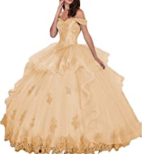 Thrsaeyi Women's Off Shoulder Quinceanera Dress Beaded Applique Prom Ball Gownageant Prom Gown