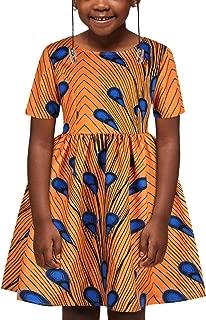 TENMET Kids Girl's Dashiki African Print Dresses Bohemia Style Pleated Multi-Way Zipper Dress for Gilrs 7-12T